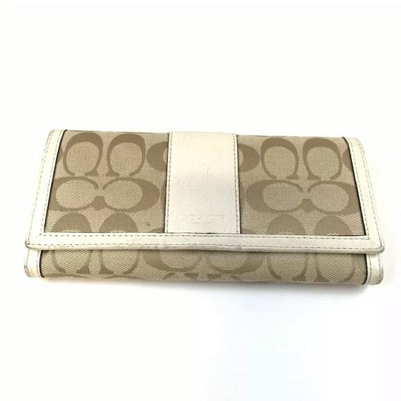 Coach Handbags - Coach Bifold Button Shut Wallet Signature C Beige